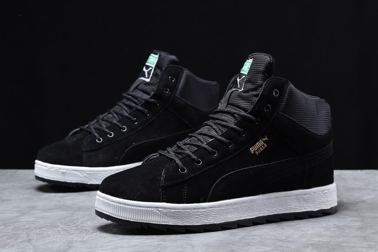 Зимние мужские кроссовки 31753, Puma Suede, черные, [ нет в наличии ] р. 43-28,3см.