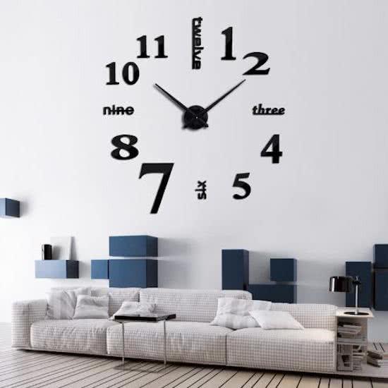 3D Часы на стену 50-120 см Слова черные 001Bl