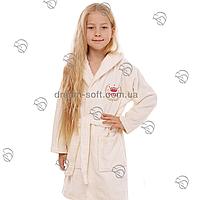 Халат детский махровый бамбук Princessa кремовый, фото 1