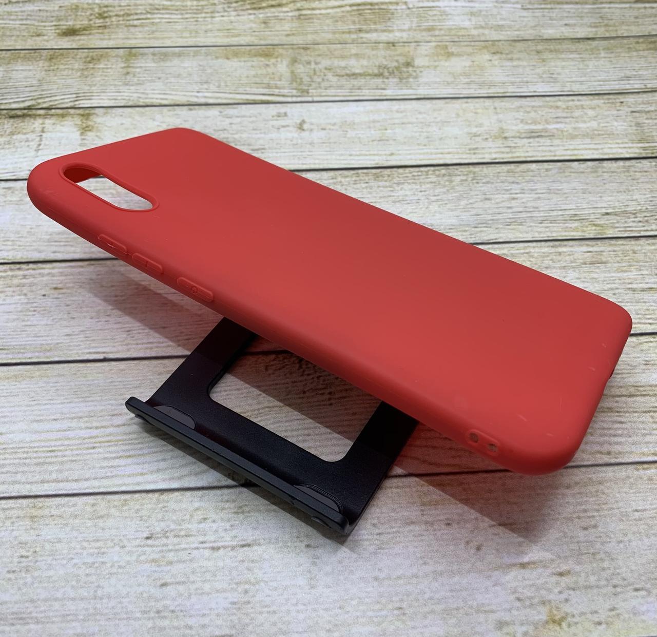 Чехол для Xiaomi Redmi 9A бампер цветной силиконовый матовый красный