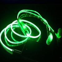 Светящиеся наушники с микрофоном Light Earphone (качественный звук) Зеленые
