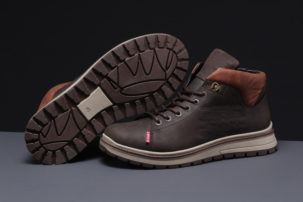 Зимние мужские ботинки 31611, Levi's (мех), коричневые, [ ] р. 43-28,5см.