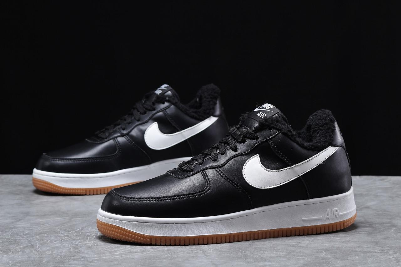 Зимние мужские кроссовки 31733, Nike Air AF1 (мех), черные, [ 41 42 ] р. 41-26,0см.