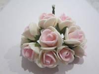 Розочка из фома кремово-розовая, 11 цветков, диаметр розы 15-20 мм, длина проволоки 7 см, фото 1