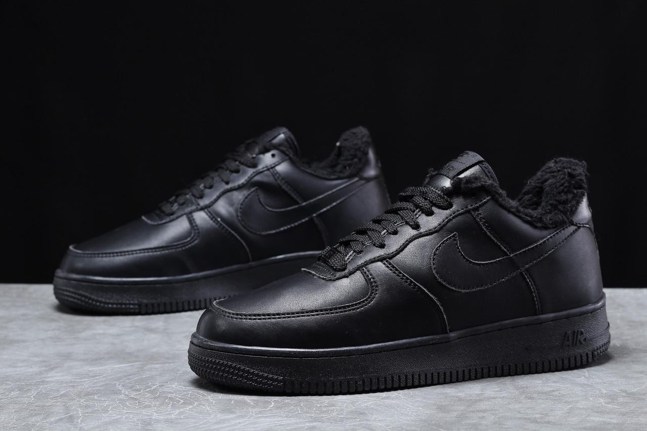 Зимние мужские кроссовки 31735, Nike Air AF1 (мех), черные, [ 41 44 45 ] р. 41-26,0см.