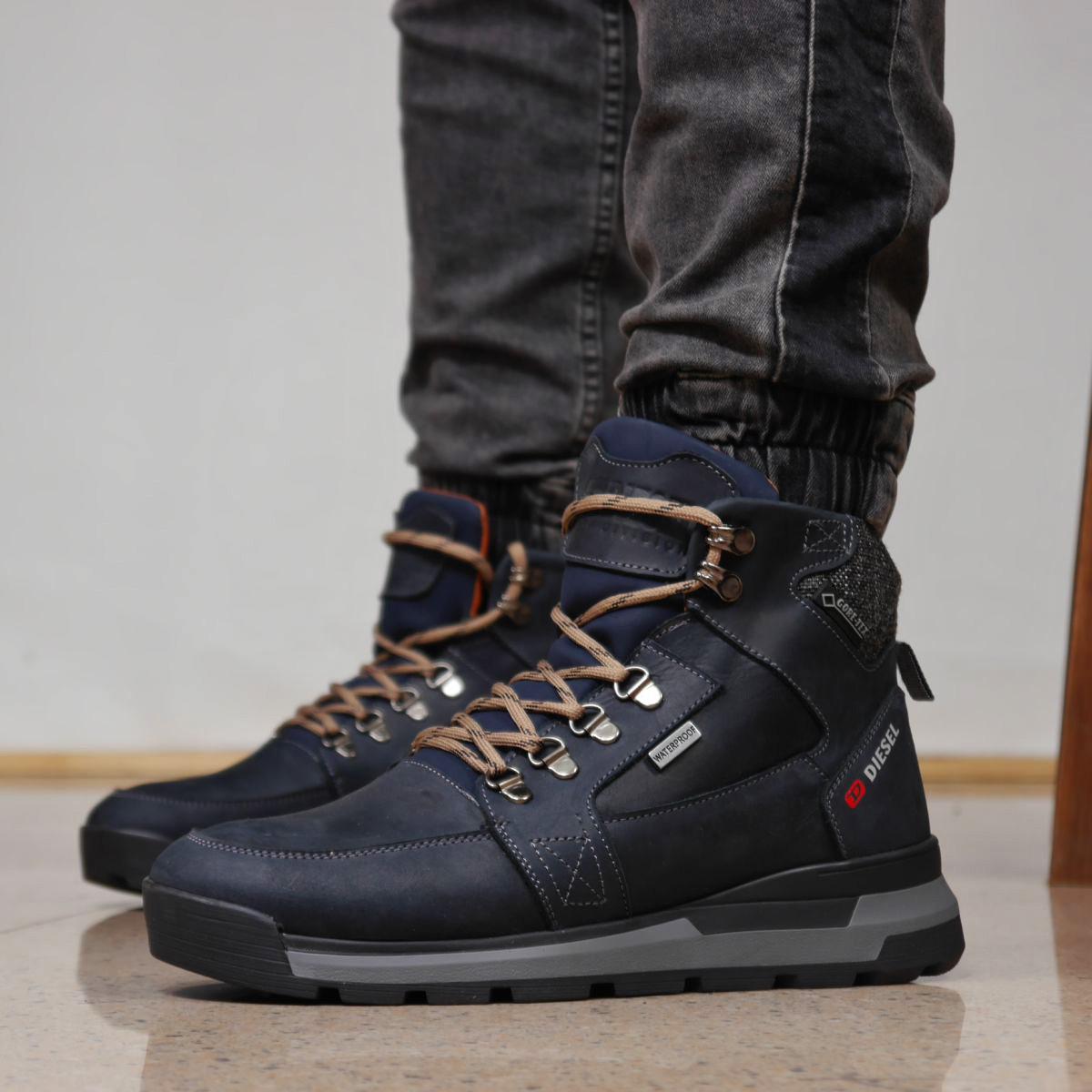 Зимние мужские ботинки 31911, Diesel Denim Devision, темно-синие, [ 40 42 43 44 ] р. 40-26,5см.