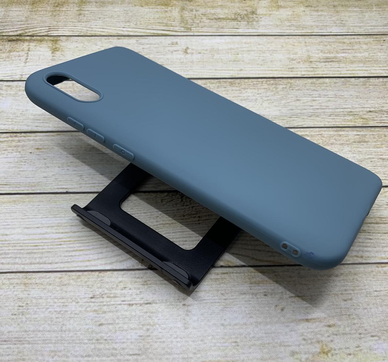 Чехол для Xiaomi Redmi 9A бампер цветной силиконовый матовый серо-голубой
