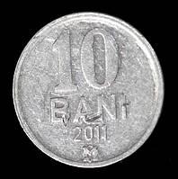 Монета Молдовы 10 бани 2011 г., фото 1