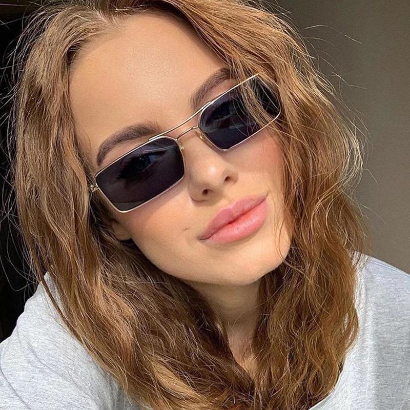 Солнцезащитные очки квадратные прямоугольные женские мужские очки унисекс черные в золотой оправе в стиле 90-х