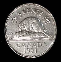 Монета Канады 5 центов 1981 г. Канадский бобр, фото 1