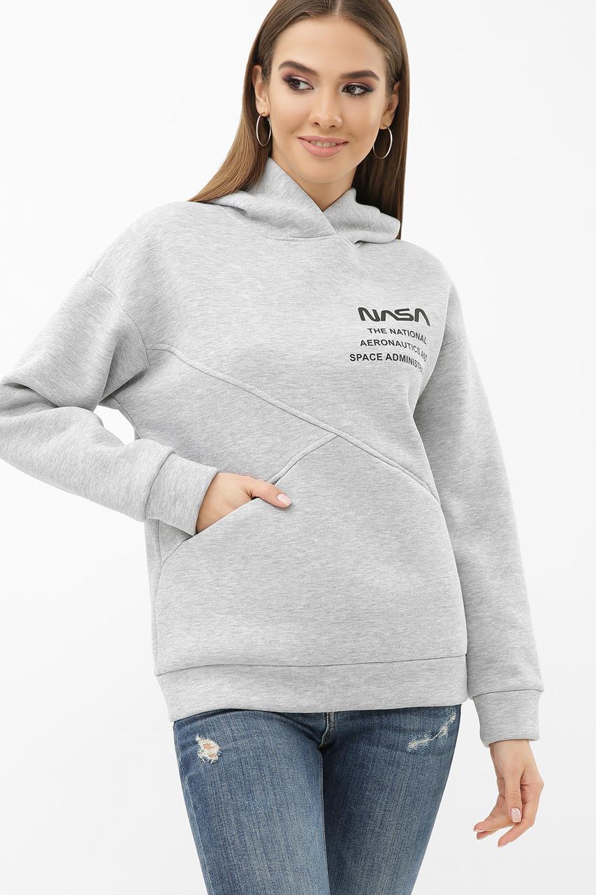Женский утепленный свитшот серый Дерси