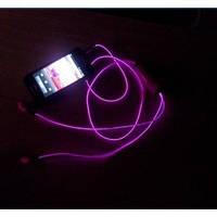 Светящиеся наушники с микрофоном Light Earphone (качественный звук) Фиолетовые