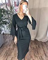 Женское утонченное черное миди платье красное черное креп костюмка 42-44, 44-46
