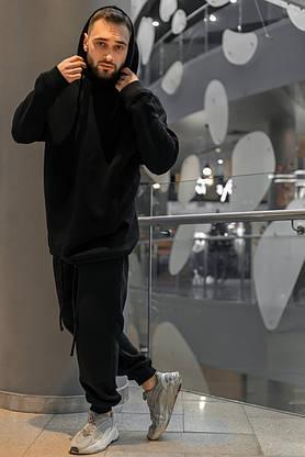 Костюм мужской спортивный зимний Oversize Intruder черный Худи толстовка на флисе+штаны черные теплые+Подарок, фото 3