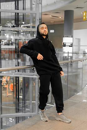 Костюм мужской спортивный зимний Oversize Intruder черный Худи толстовка на флисе+штаны черные теплые+Подарок, фото 2
