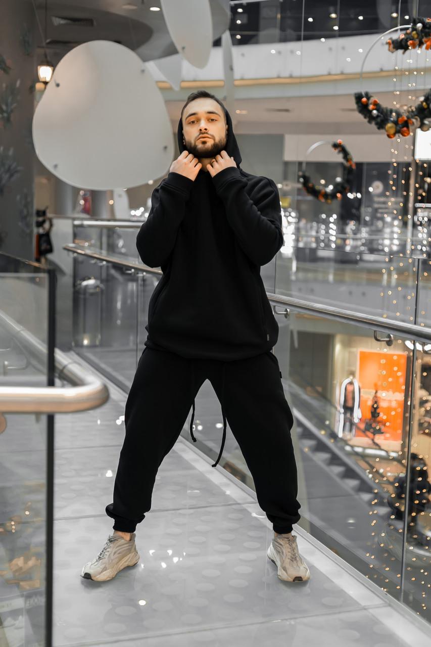 Костюм мужской спортивный зимний Oversize Intruder черный Худи толстовка на флисе+штаны черные теплые+Подарок