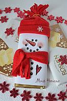 Оформление новогоднего шоколада Снеговик