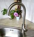 Нержавеющий однорычажный высокий кухонный смеситель для кухни из нержавейки на мойку HAIBA SUS 011 (HB2893), фото 3