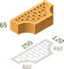 Цегла клінкерна фасонний Керамейя Клінкерам 250x120x65 мм Бурштин 36%, фото 2