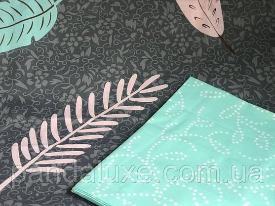 Постельное белье бязь голд, двуспальный евро комплект Листья, фото 2