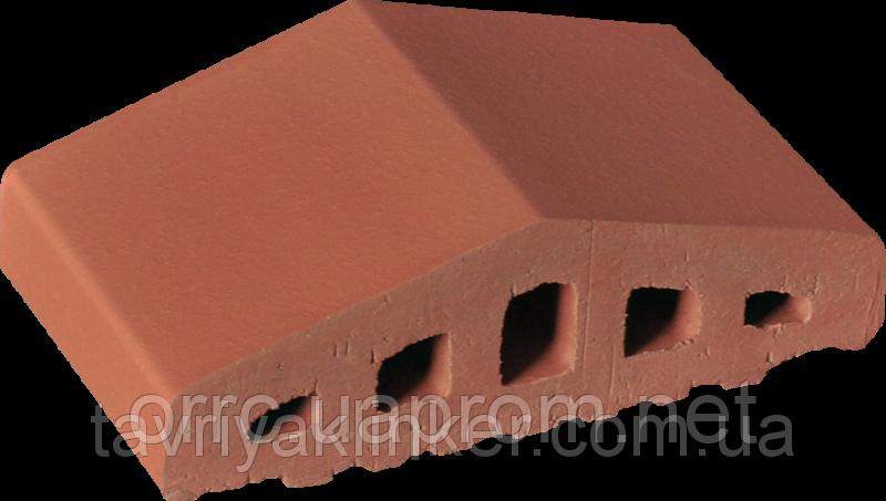 Парапет крышка клинкерная на забор Рубиновый красный (01)