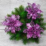 Цветок пуансетия комбинированная, лиловая (розовая). Диаметр 10 см, фото 2