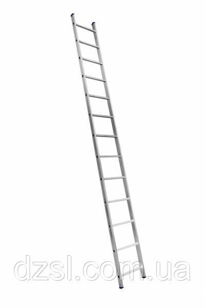Алюмінієва односекційна приставна драбина посилена на 13 сходинок (напівпрофесійна)