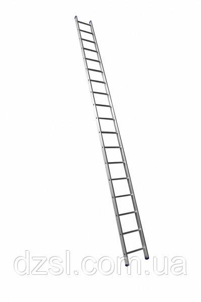 Алюмінієва односекційна приставна драбина посилена на 18 сходинок (напівпрофесійна)