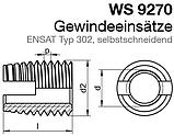 WS 9270 : нержавіюча втулка різьбова самонарезная ENSAT, тип 302, фото 2