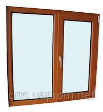"Поворотно-откидное окно из ""холодного"" алюминия, декор под дерево двухсторонний, Lorenzoline 40C, 1300*1400"
