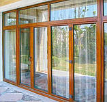 "Поворотно-откидное окно из ""холодного"" алюминия, декор под дерево двухсторонний, Lorenzoline 40C, 1300*1400, фото 2"