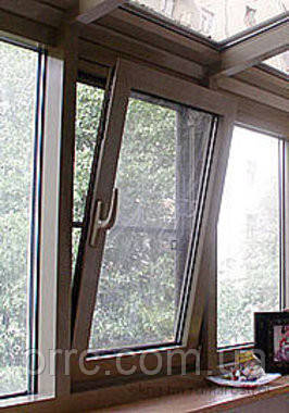 """Поворотно-откидное окно из """"теплого"""" алюминия, декорирование под дерево двухстор., Lorenzoline 54Т, 1300*1400"""