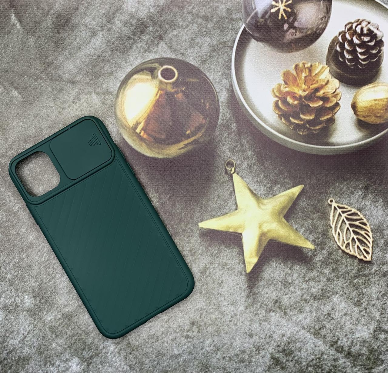 Чехол на iPhone 11 матовый цветной силиконовый зеленый с защитой камеры