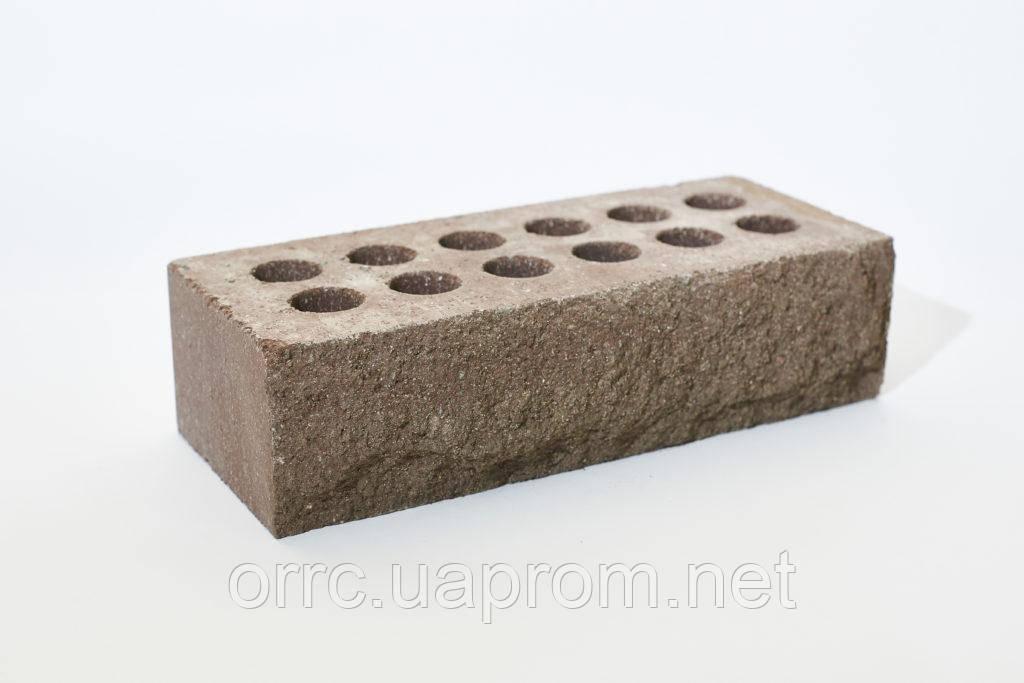 """Облицовочный кирпич Литос  """"Скала"""" стандарт пустотелый 250*120*65 Шоколад"""