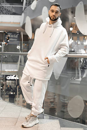 Худи Мужское зимние Intruder белое Oversize на флисе спортивная кофта теплая, фото 2