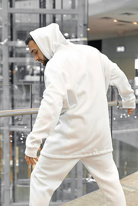 Худи Мужское зимние Intruder белое Oversize на флисе спортивная кофта теплая, фото 3