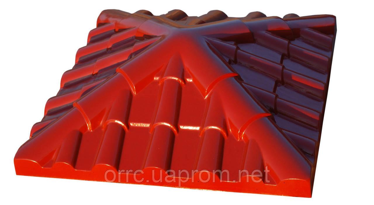 """Крышка на забор бетонная Мегалит """"Ретро"""" 390х390х110 мм"""