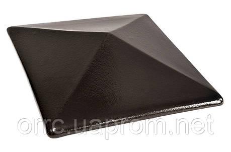 Клинкерная крышка на забор KingKlinker Ониксовый чёрный (17) 310х445х90, фото 2