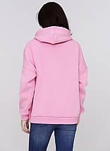 Худи женское на флисе оверсайз 01 теплый розовый, фото 2