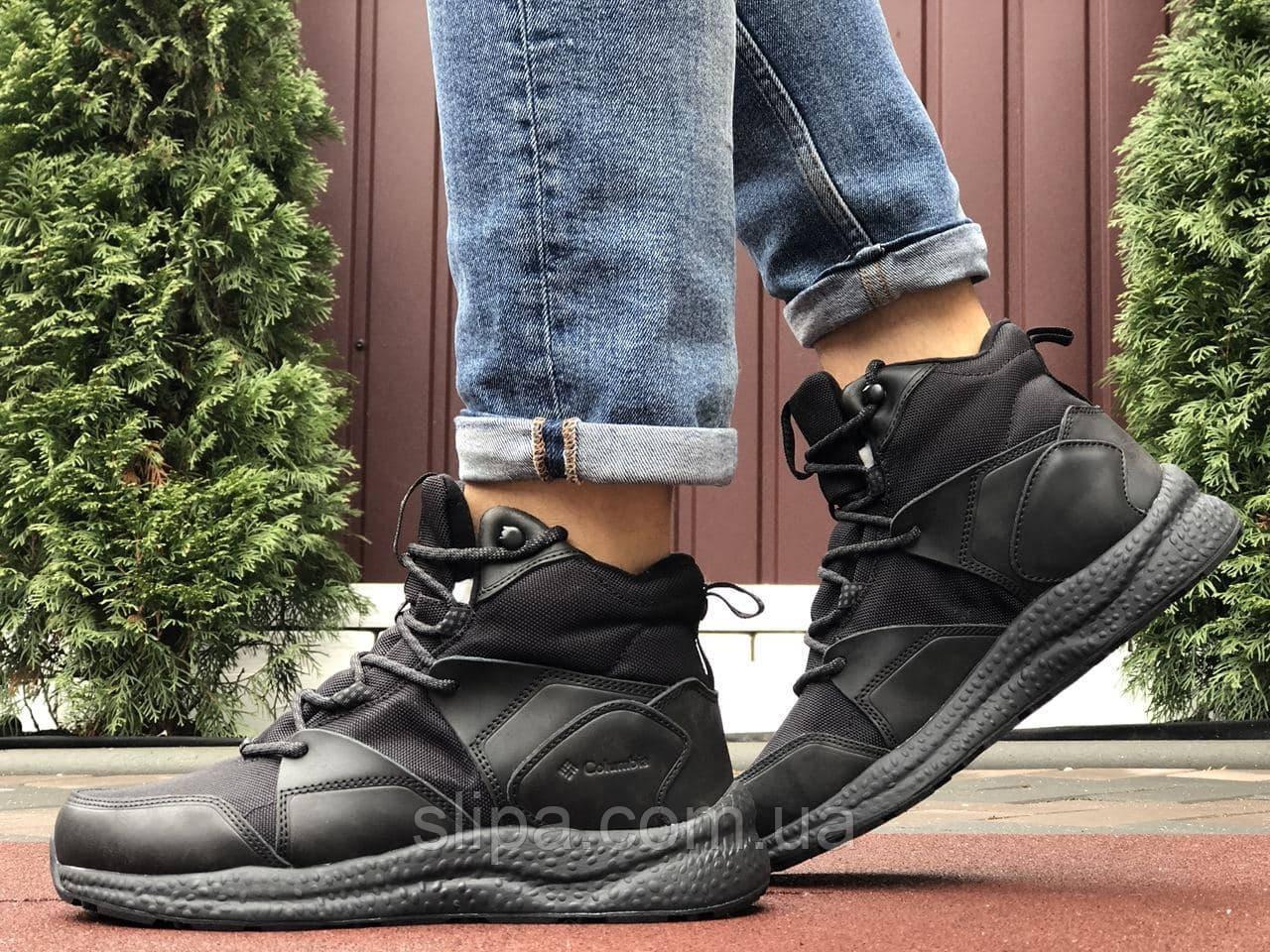Мужские зимние кроссовки чёрные из кожи и термоплащёвки