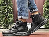 Мужские зимние кроссовки чёрные из кожи и термоплащёвки, фото 1