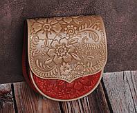 Компактная кожаная женская сумочка, бежевая сумка, тисненая кожа, фото 1
