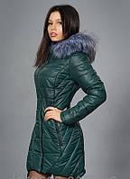 Женская модная зимняя куртка, цвет тёмно зелёный