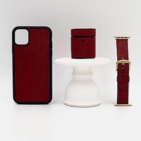 Набор из чехла для iPhone, чехла для AirPods и ремешка для Apple Watch красного цвета из кожи Игуаны