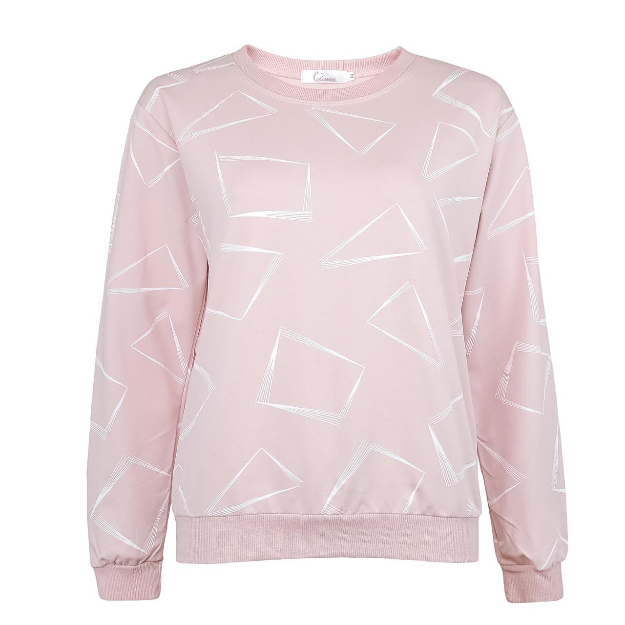 Кофта женская коттоновая розовая, стильный осенний свитшот