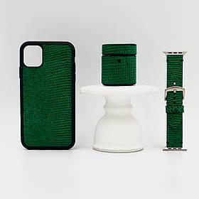 Набор из чехла для iPhone, чехла для AirPods и ремешка для Apple Watch зелёного цвета из кожи Игуаны