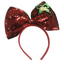 Детский обруч ободок на голову для девочки с бантиком и пайетками оборотнями красный