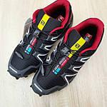 Чоловічі кросівки Salomon Speedcross 3 (чорно-червоні) 10325, фото 6