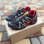 Чоловічі кросівки Salomon Speedcross 3 (чорно-червоні) 10325, фото 9