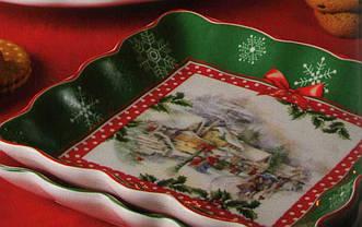 Тарелка квадратная с новогодним рисунком